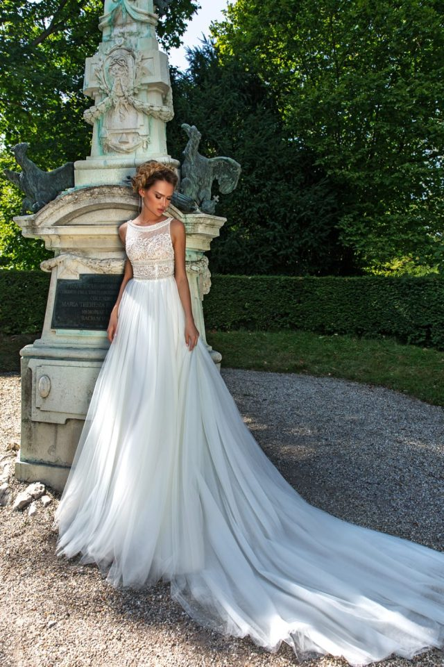 scoop neck wedding gown by Crystal Design Couture