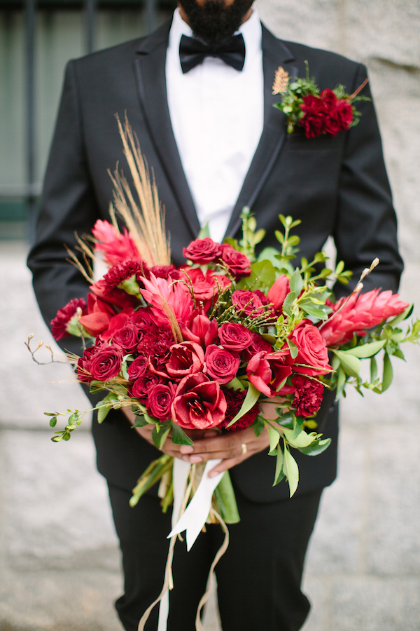 red rose and greenery bouquet