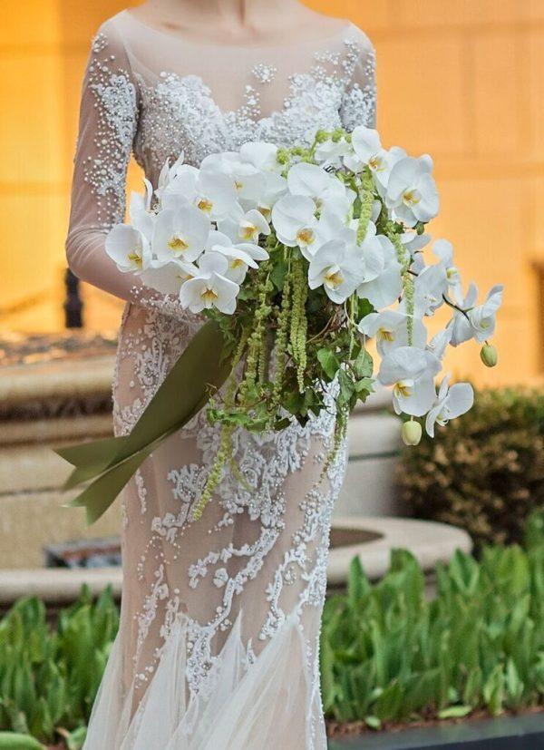 white orchids bouquet by Kesh Designs