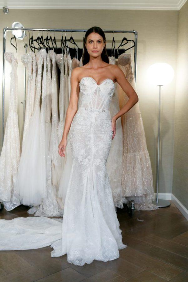 Strapless Lace Wedding Gown by Netta BenShabu