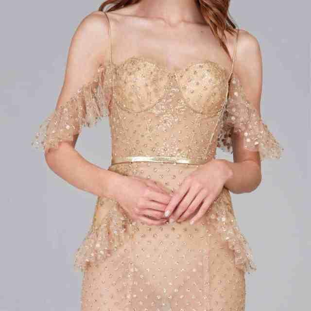 Cold shoulder nude wedding dress
