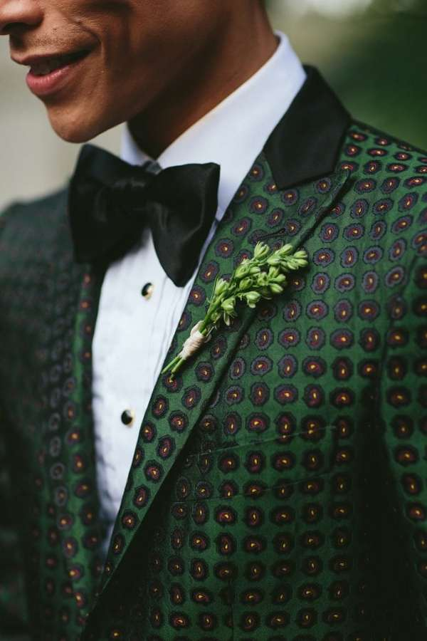 green patterned groom suit
