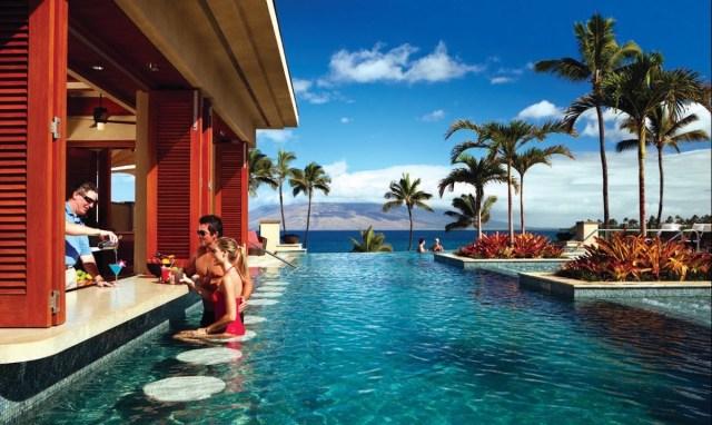 swim up pool at the Four Seasons resort in Maui, Hawaii