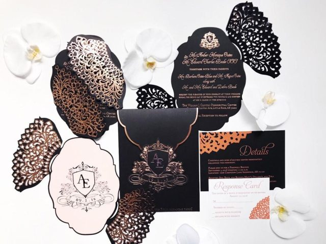 laser cut Black wedding invitation suite
