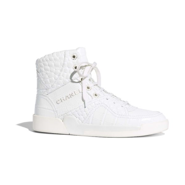 hi-top chanel white sneakers
