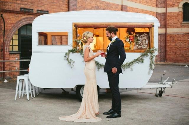 chic vintage trailer mobile bar and elegant wedding reception