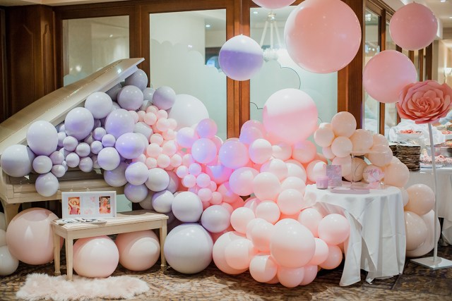 peach pink and lavender christening decor and design in australia. with balloon arch. chic party ideas and celebrations inspiration. by perfête.
