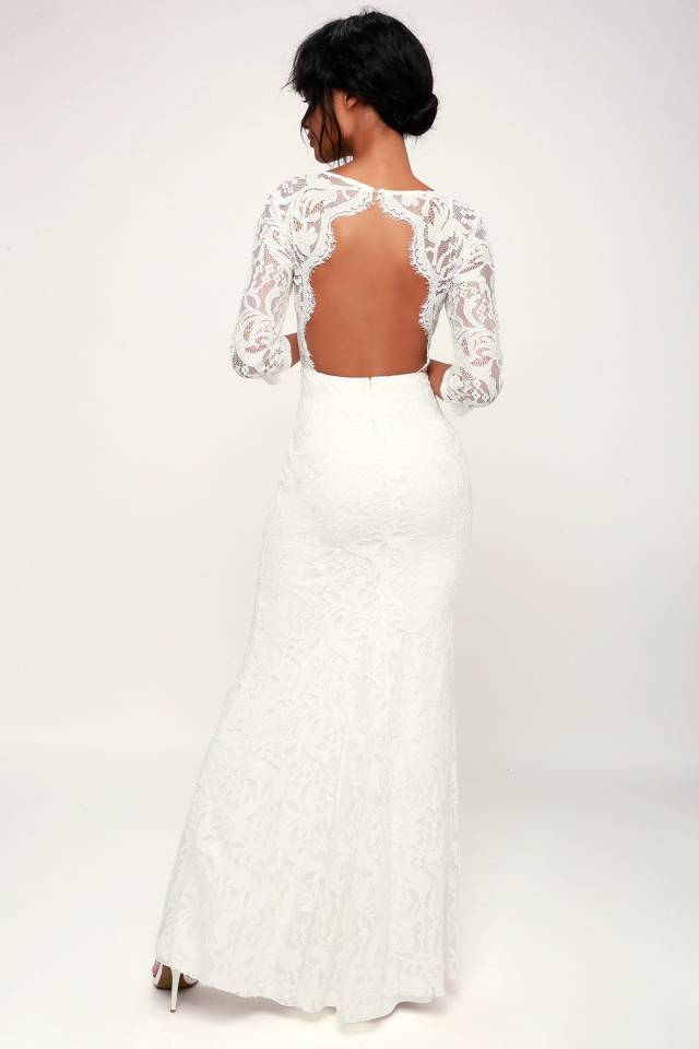 backless long sleeved lace wedding dress