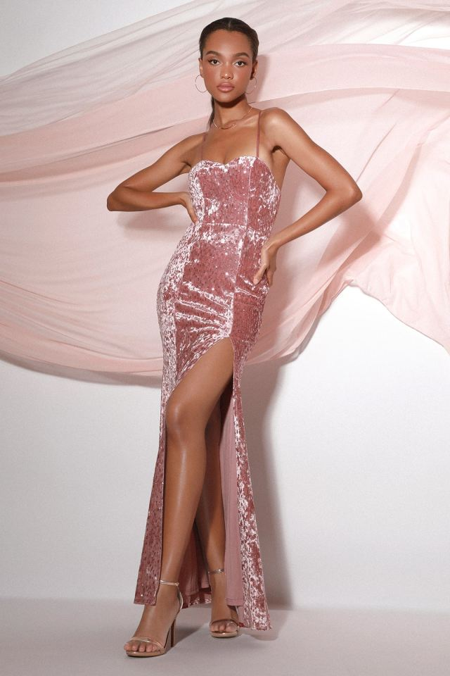 pink sequin dress with high slit, sweetheart cut neckline, and straps