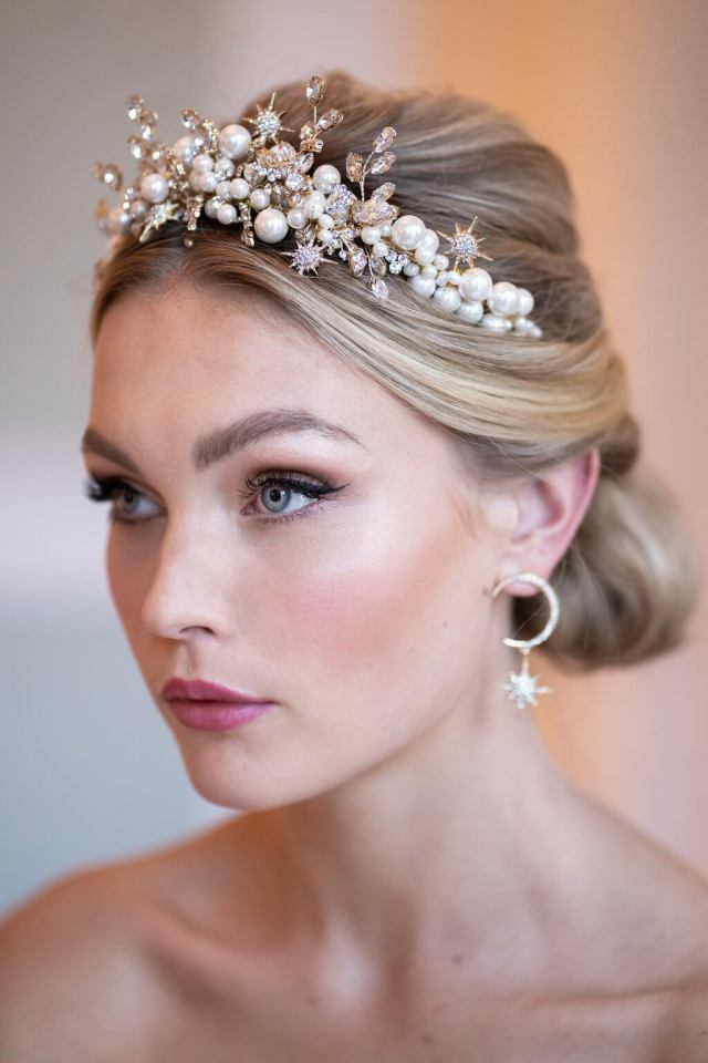 crystal and pearl headband bridal headpiece