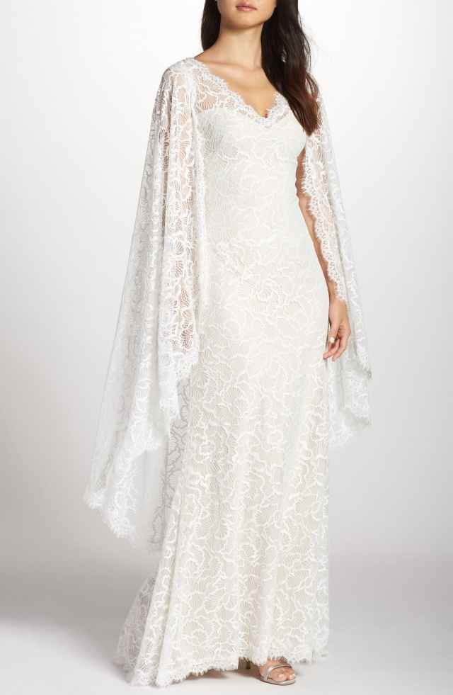 Lace Cape wedding dress by Tadashi Shoji