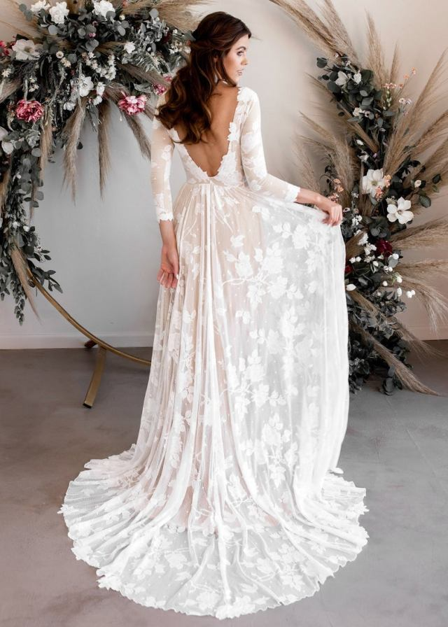 plunge back wedding dress with flower appliqué