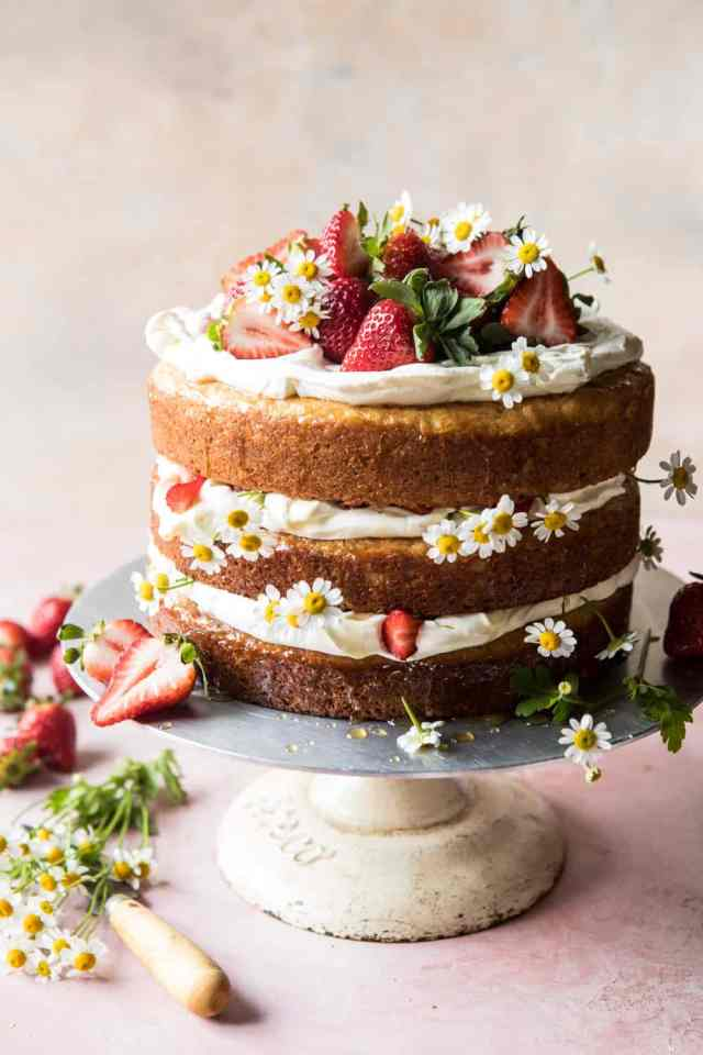 simple naked cake with strawberries
