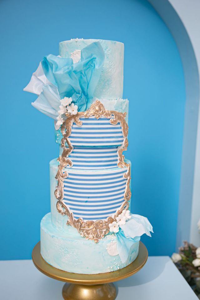 blue watercolor and striped cake