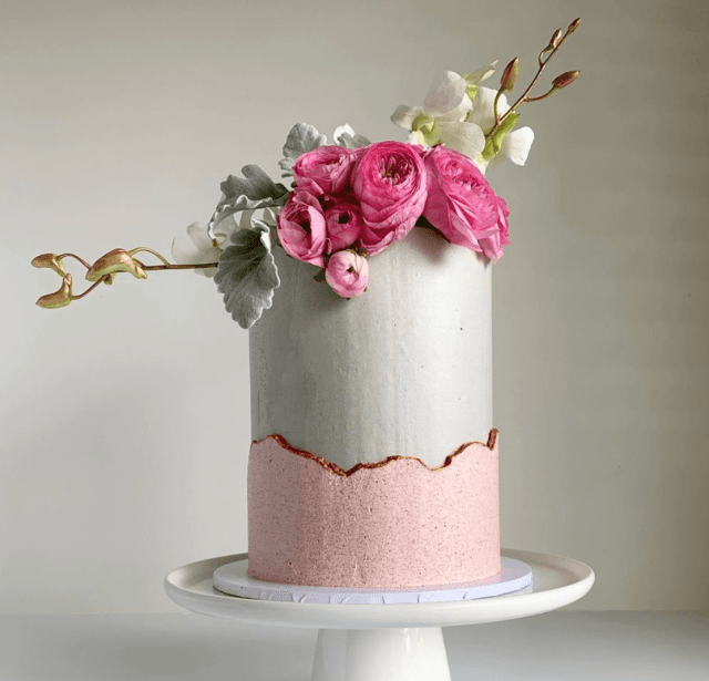 grey and pink cake