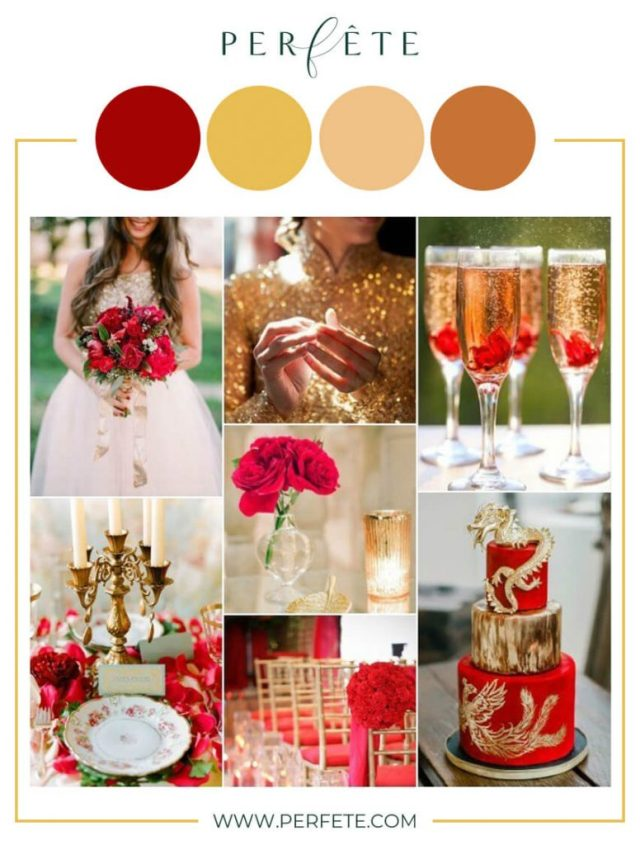 red and gold wedding colors