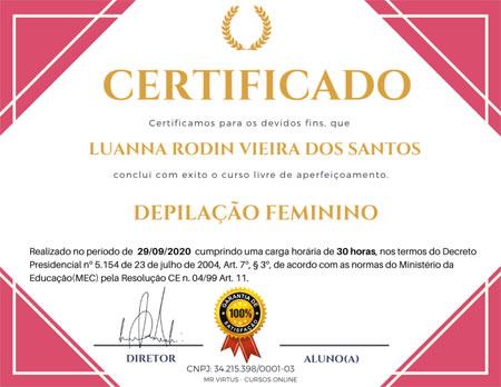 Certificado - Curso de Depilação