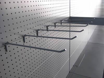 perforated metal display rack for