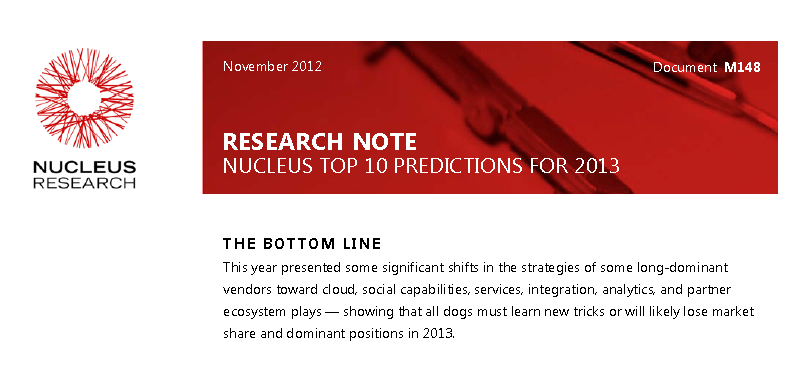 Nucleus predictions 2013