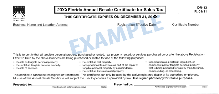 Tax Exempt Certificates