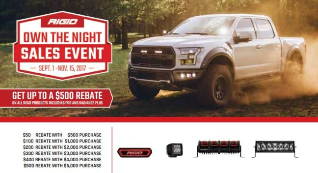RIGID Industries: Get Up to a $500 Rebate During RIGID's Own the Night Sales Event