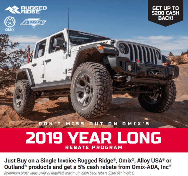 Rugged Ridge: Year-Long Rebate Program for 2019