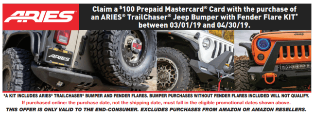 ARIES: Get $100 Back on TrailChaser Jeep Bumper with Fender Flare Kit Purchase