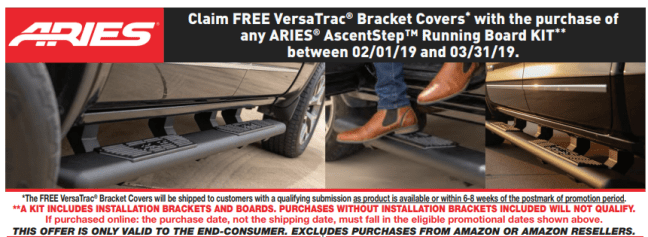 ARIES Free VersaTrac Bracket Covers with AscentStep Running Board Kit Purchase