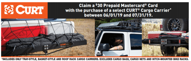 CURT: Get $30 Back on Qualifying Cargo Carriers