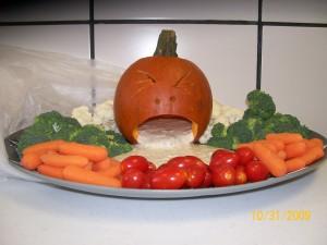 Best Veggie Platter - Vomiting Pumpkin Dip tray