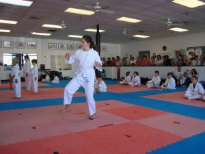 A new White Belt student, from the new Lake Park club of the Performance Martial Arts Academy, competes in Songahm Forms.  September 26, 2009