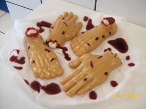 Scary food - Jello Molded Hands and Feet with cream cheese filling!