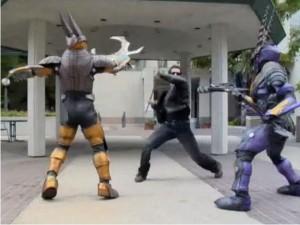 Len (Matt Mullins) Battles Evil with a make shift Bo-Staff