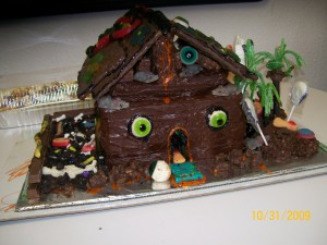 Scariest Dish Winner - 100% edible haunted brownie house and grounds.