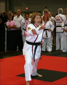 Jennifer Powell is a three-time World Champion in Taekwondo.
