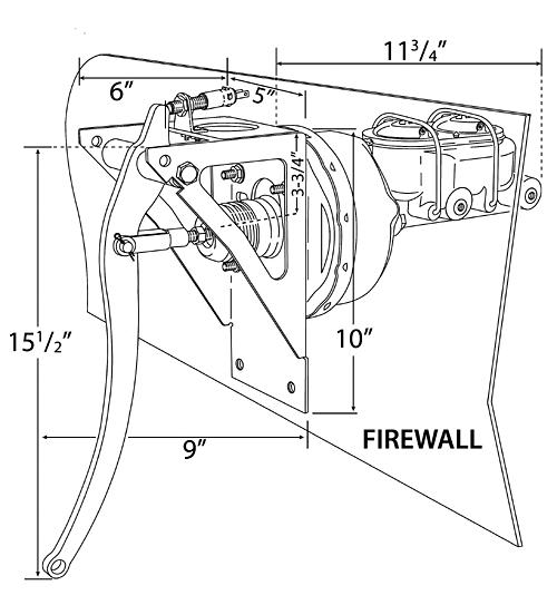 Universal Firewall Brake Pedal Assembly Diagram #BBF-UNI