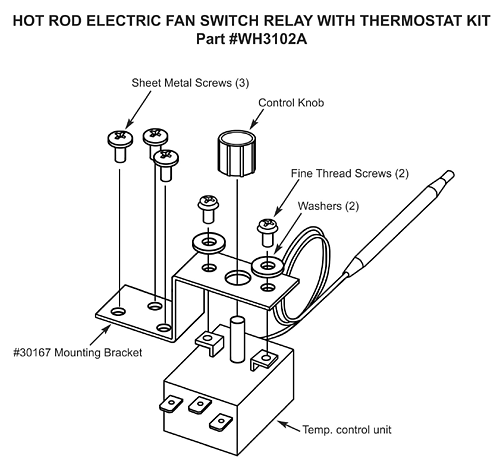 Electric Fan Switch With Thermostat, Adjustable 19824