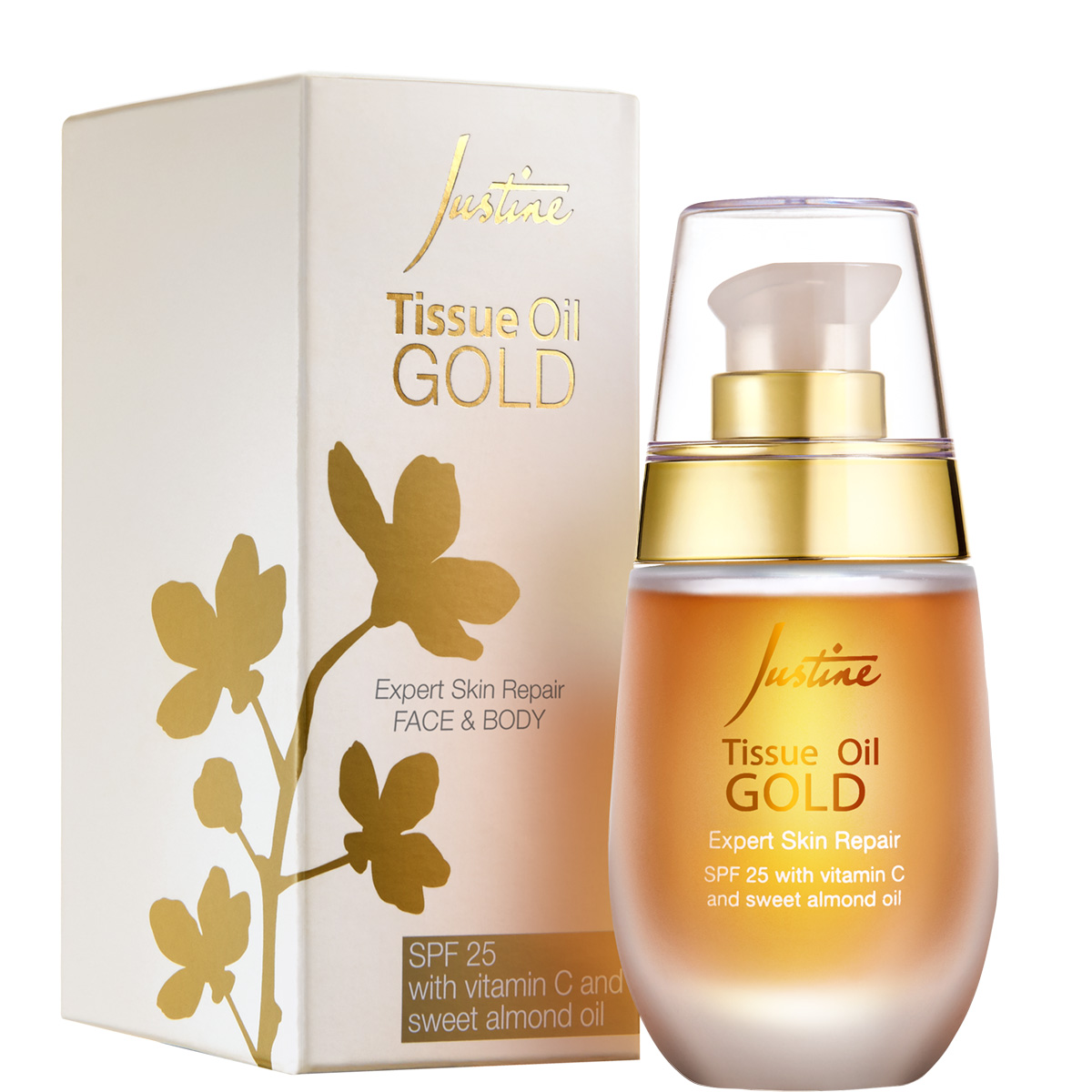 Justine Tissue Oil Gold Face and Body SPF 25