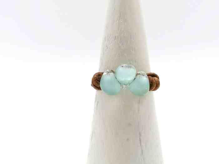 bague perles chalumeau turquoise cuir