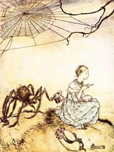 Little Miss Muffet illustration by Arthur Rackham. Date unknown
