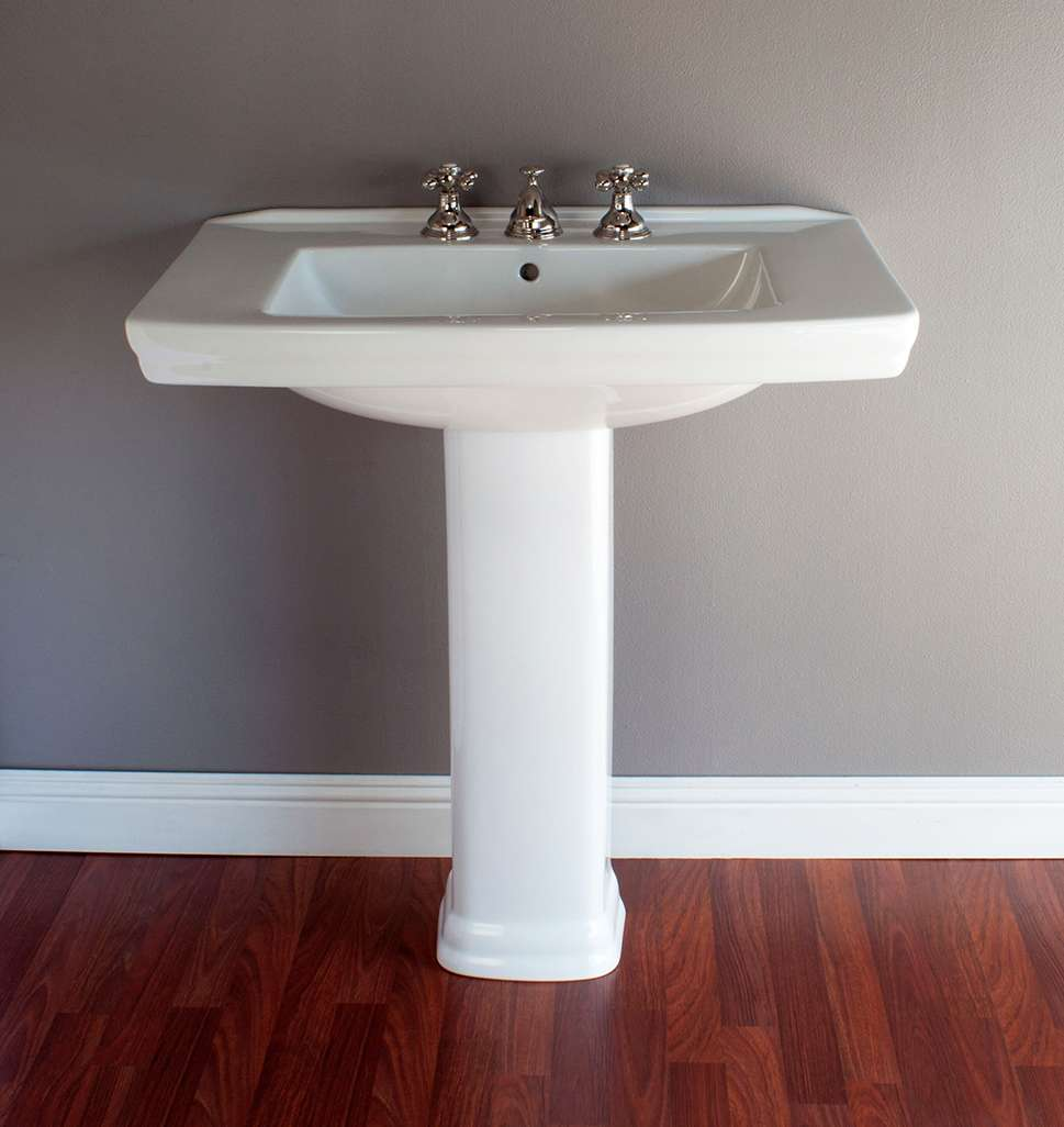deco or mid century 31 3 4 porcelain pedestal bathroom sink