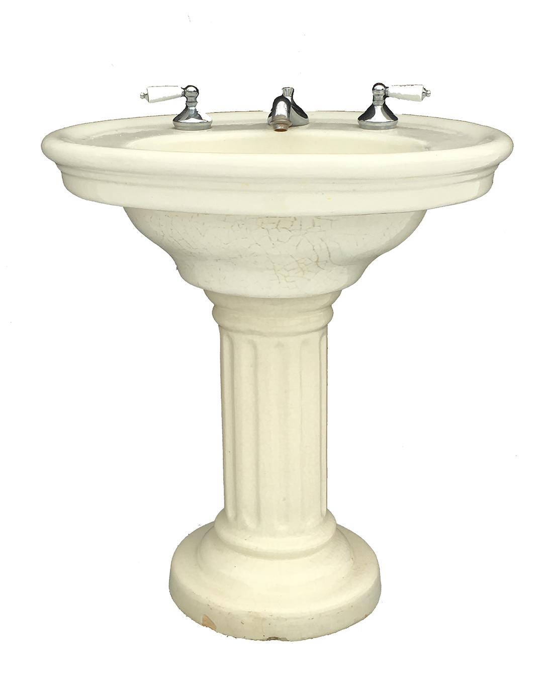 antique trenton pottery ideal earthenware pedestal sink with fluted pedestal circa 1916