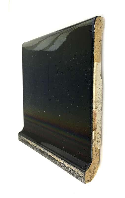 antique ceramic gloss black 6 x 6 shoulder cove base tile