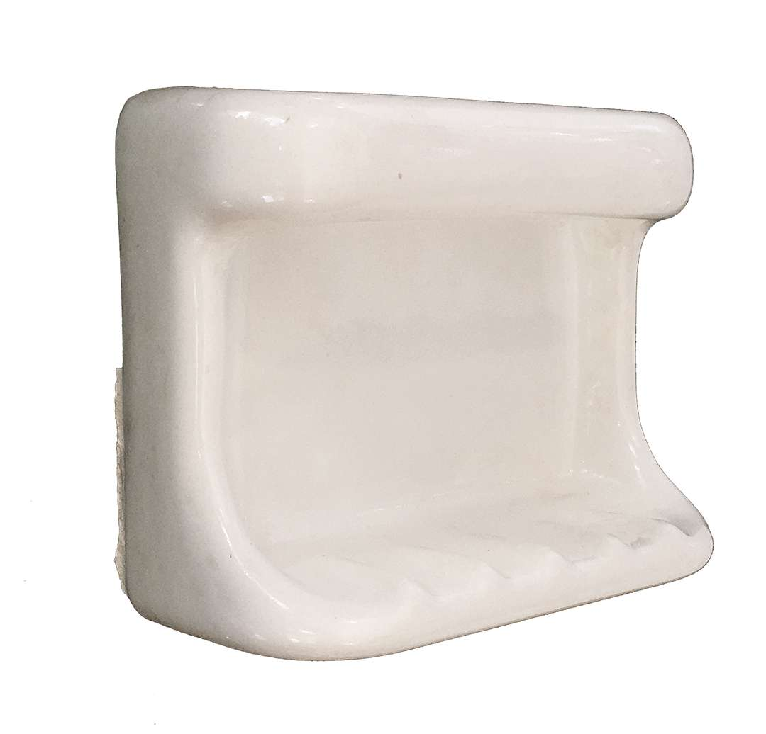 antique white ceramic tile in soap dish with grab bar