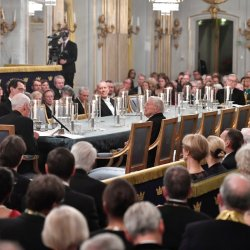 La reunión formal de la Academia Sueca en el antiguo edificio de la Bolsa en Estocolmo el año pasadoCredit Henrik Montgomery/EPA vía Shutterstock