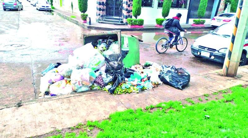 El peso excesivo de basura o de manera intencional, pero ayer por la mañana el contenedor de basura ubicado en la calle Niccolo Paganini de Jardines del Sur, estaba volteado, dejando esparcidos los residuos.