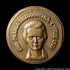 Curium Marie Curie commemorative medal