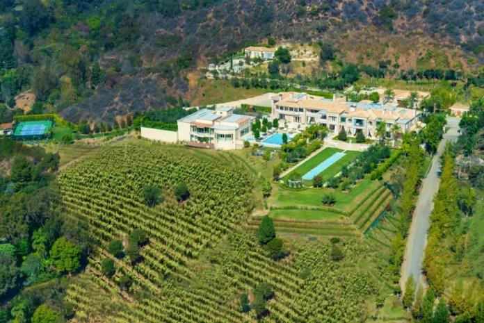 Vista aérea del jardín de la casa más cara de USA