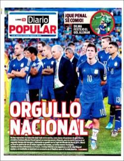 """Diario Popular: """"Orgullo nacional"""""""