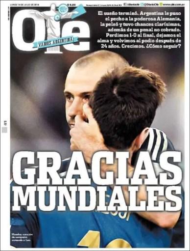 """Diario Olé: """"Gracias mundiales"""""""